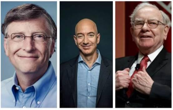 美国前3大富豪比尔·盖茨、贝索斯及巴菲特的财产身家,与美国经济底层一半人口,总计约1.6亿人的财富总和相当。(图片取自《每日电讯报》)