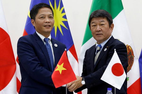 当地时间2017年11月11日,日本经济再生担当大臣茂木敏充(右)与越南工贸部长陈俊英在越南岘港举行新闻发布会,两人共同宣布除美国外的11国就继续推进TPP正式达成一致。视觉中国 图