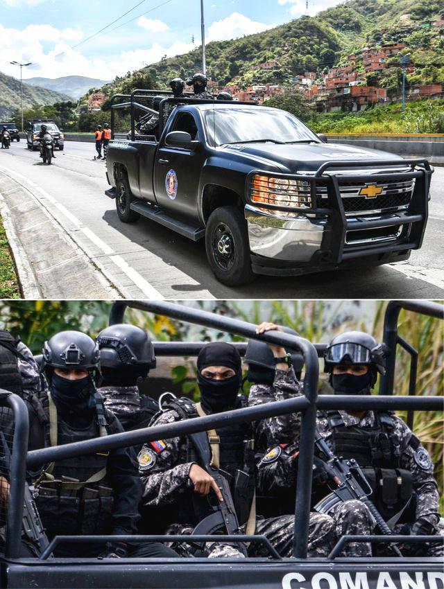 委内瑞拉情报部门安全部队展开搜捕行动。(新华/法新)
