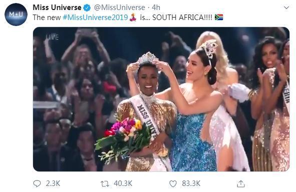 环球小姐评选结果公布。图片来源:社交媒体账户截图。