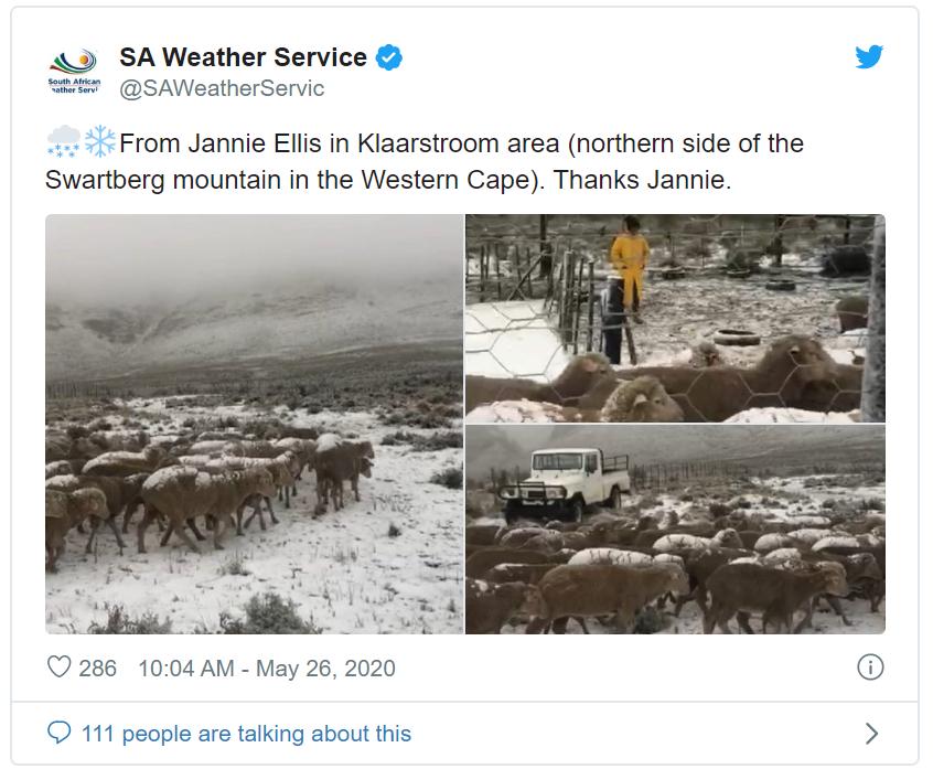 南非的冬天之夸省迎来洪水和暴雨 西开普省部分地区降雪