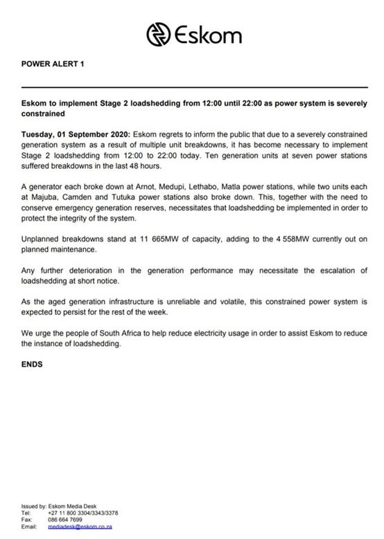 南非电力公司Eskom将于今日实施第二阶段减载