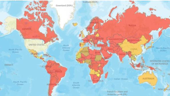 美国不希望其公民去南非或世界上大多数国家旅行